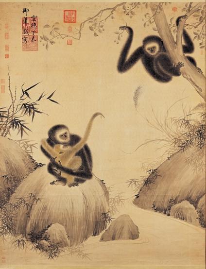 Гиббоны играют. Картина Чжу Чжаньцзи (1427)