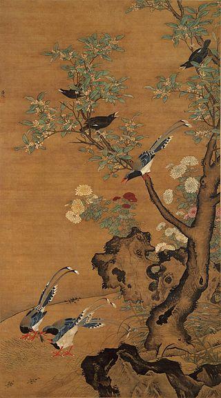 Люй Цзи. Кассия, хризантема и горные птицы. Гугун, Пекин.