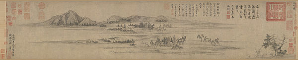 600px-6_Zhao_Mengfu_Water_Village,_dated_1302_(24.9_x_120.5_cm);_Palace_Museum
