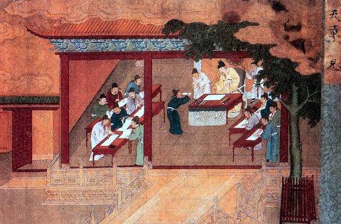 Даосские учителя подносят императору Книгу Даодэдцзин. Неизвестный автор